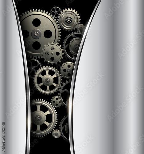 Abstract background metallic silver with gears