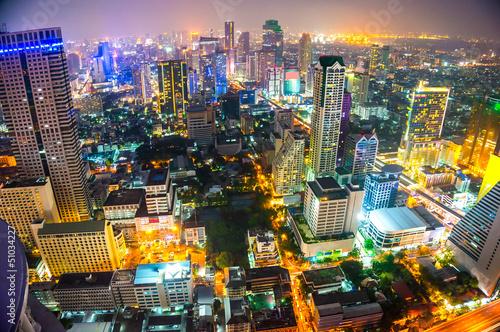Widok z lotu ptaka Bangkoku w Tajlandii ..