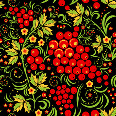 Khokhloma Seamless Pattern Background