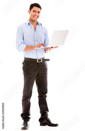 Business man holding a laptop