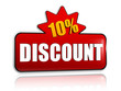 10 percentages discount 3d red banner with star
