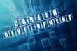 career development in blue glass cubes