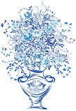 Bouquet of Flowers. Vector illustration of blue color
