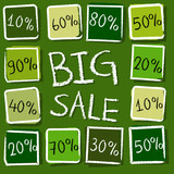 big sale and percentages in squares - retro green label