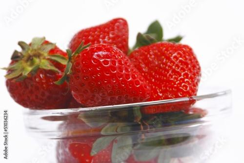 Tasty strawberry in glass bowl