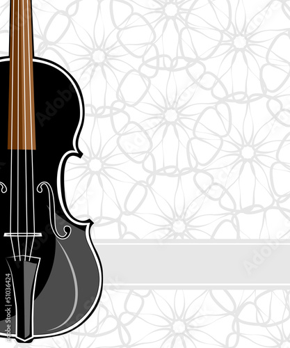 Black violin on floral background