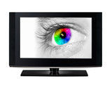 TV showing a color eye.