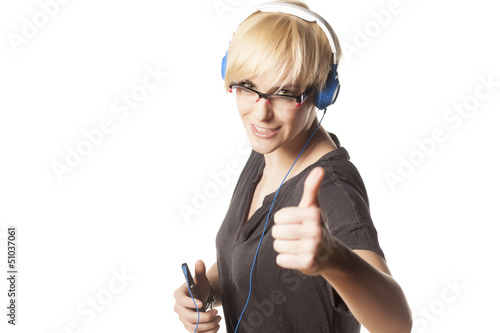 cute short haired blonde showing thumb up with headphones