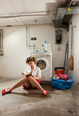 housewife bored in the laundry