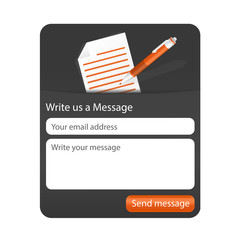 Dark contact form with light paper and orange ballpoint