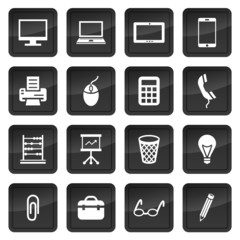 Icons of office devices and equipment with dark buttons