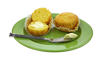 Corn Muffins Buttered Knife Plate