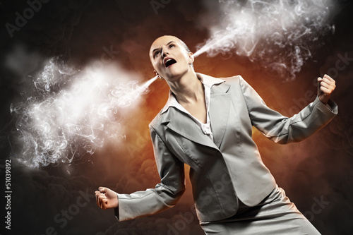 businesswoman in anger