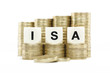 ISA (Individual Savings Account) on gold coins on white backgrou
