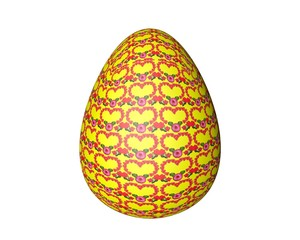 motley Easter egg on a white background