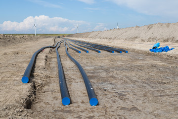 Digging of a big electricity cable trench for a big new windfarm