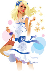 beauty girl in white dress