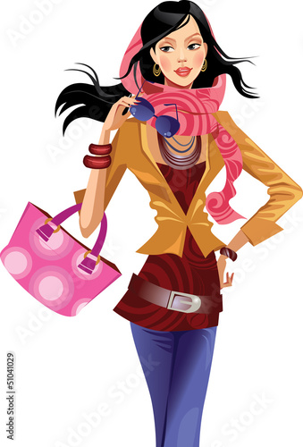 fashion girl  with pink scarf