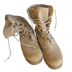 U.S. Army boots isolated on white background