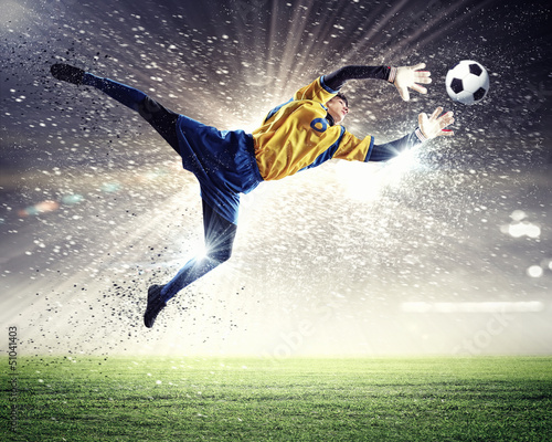 Plexiglas voetbal Goalkeeper catches the ball