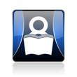 book blue square web glossy icon
