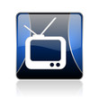 tv blue square web glossy icon