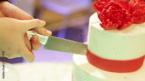 Wedding cake with red flower