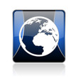 earth blue square web glossy icon