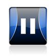 pause blue square web glossy icon