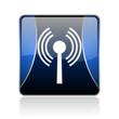 wifi blue square web glossy icon