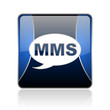 mms blue square web glossy icon