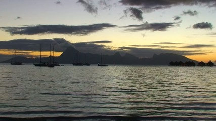 Moorea at sunset, viewed from Tahiti