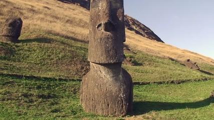 Several moai at Rano Raraku on Easter Island