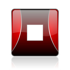 stop red square web glossy icon