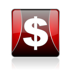 us dollar red square web glossy icon