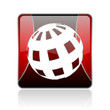 earth red square web glossy icon