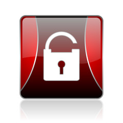 padlock red square web glossy icon
