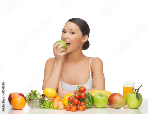 woman with fruits and vegetables