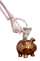 skeleton hand with dollar and piggybank