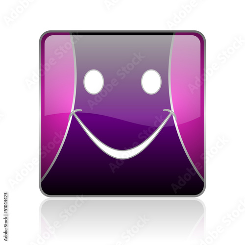 smile violet square web glossy icon