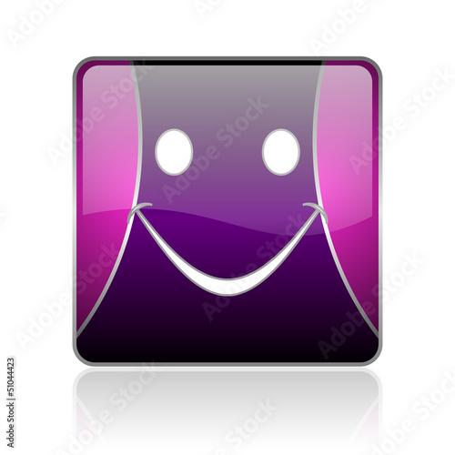 smile violet square web glossy icon