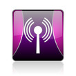 wifi violet square web glossy icon