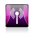 wifi violet square web glossy icon