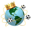 Soccer ball with crown and globe