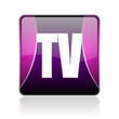 tv violet square web glossy icon