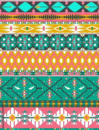 Sticker Seamless colorful aztec pattern with birds, and arrow