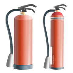 Collection of realistic extinguisher. Vector design.