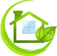 Green logo of eco house with leafs