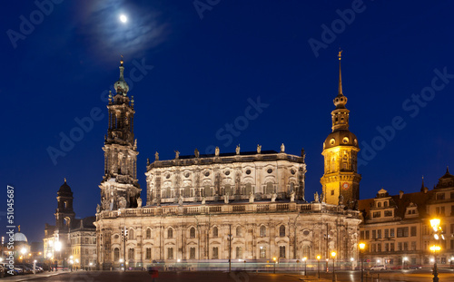 Nigt scene with castle in Dresden