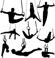 Gymnastics Rings Silhouettes. Layered and Fully Editable
